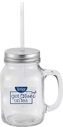 "image of Tetley ""Get Sweet on Tea"" Glass Mason Jar"